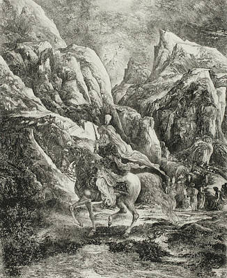 Horseman Drawing - Rider In The Mountains by Rodolphe Bresdin