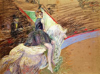 Rider On A White Horse Print by Henri de Toulouse Lautrec