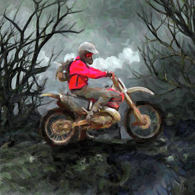 Motorbike Painting - Rider by Til Williams