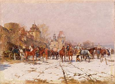 Winter Painting - Riders Outside A Village In A Winter Landscape by Celestial Images