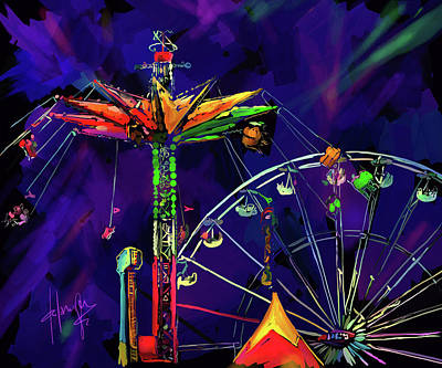 Painting - Rides At The Fair by DC Langer