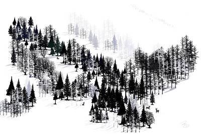 Digital Art - Ridge Of Trees by Debra Baldwin