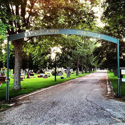 Photograph - Ridgelawn Cemetery Entrance by Chris Brown