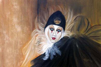 Black Clown Painting - Ridi Pagliaccia by Leonardo Ruggieri