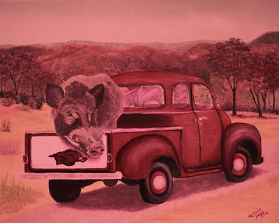 Ridin' With Razorbacks 3 Art Print by Belinda Nagy