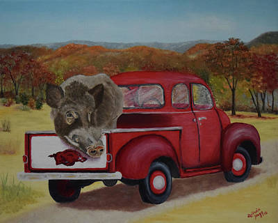 Ridin' With Razorbacks Print by Belinda Nagy