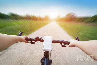 Activity Photograph - Riding A Bike First Person Perspective. Smartphone On Handlebar. Speed Motion Blur by Michal Bednarek