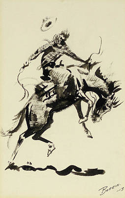 Bronc Painting - Riding A Bronc by MotionAge Designs