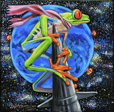 Painting - Riding A Nuclear Rocket by John Lautermilch