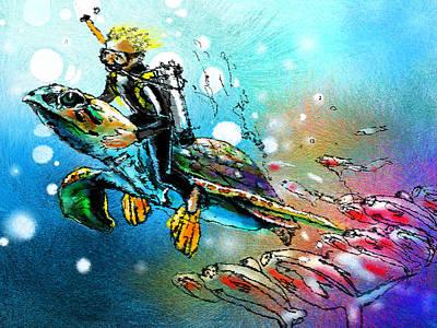 Art Miki Digital Art - Riding A Turtle by Miki De Goodaboom
