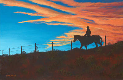 Wyoming Painting - Riding Fence by Jerry McElroy