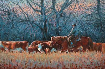 Cattle Roundup Painting - Riding Herd by Jim Clements