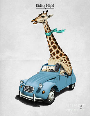 Giraffe Wall Art - Digital Art - Riding High by Rob Snow