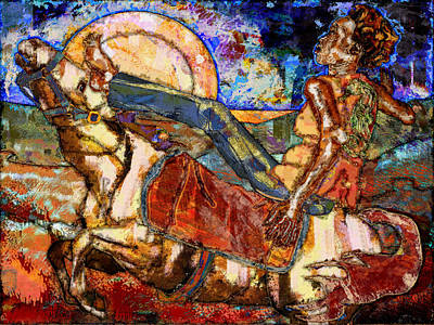 Santa Fe Digital Art - Riding Horseback In Santa Fe by Mary Ogle