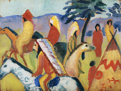 Painting - Riding Indians  by August Macke