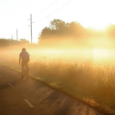 Trail Photograph - Riding Into The Morning Fog by Heidi Hermes