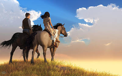 Digital Art - Riding Off Into The Sunset by Daniel Eskridge