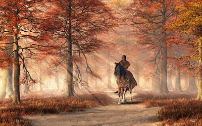 Native American Woman Digital Art - Riding On The Autumn Trail by Daniel Eskridge