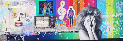 Chakra Rainbow Mixed Media - 'riding The Brains Waves' Collage by Casey Roche