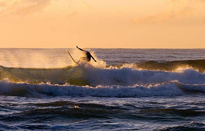 Surf Photograph - Riding The Crest by Mike  Dawson