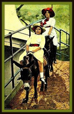 Donkey Mixed Media - Riding The Donkeys At Coney Island, 1905 by Dwight GOSS