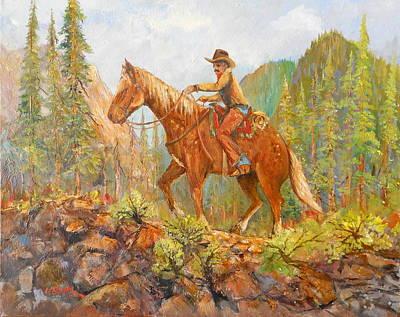 Lynn Burton Wall Art - Painting - Riding The High Ridge by Lynn Burton