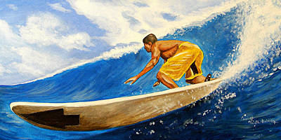 Waterscape Painting - Riding The Wave by Al  Molina