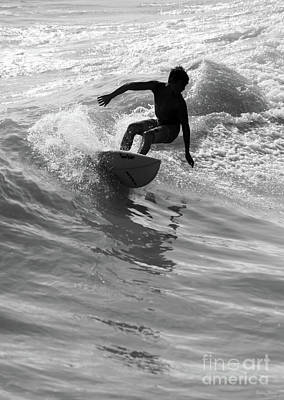 Photograph - Riding The Wave Grayscale by Jennifer White