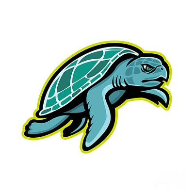 Turtle Digital Art - Ridley Sea Turtle Mascot by Aloysius Patrimonio