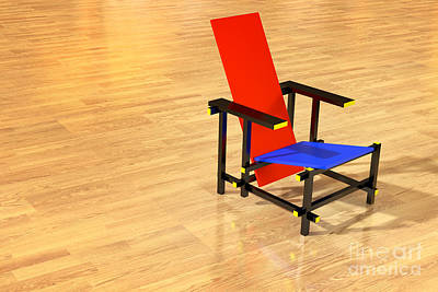 Rietveld Chair Parquet Floor Art Print