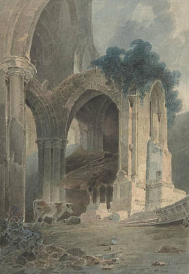 Drawing - Rievaulx Abbey, Yorkshire by John Sell Cotman