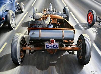 Hot Rod Wall Art - Painting - Riff Raff Race by Ruben Duran