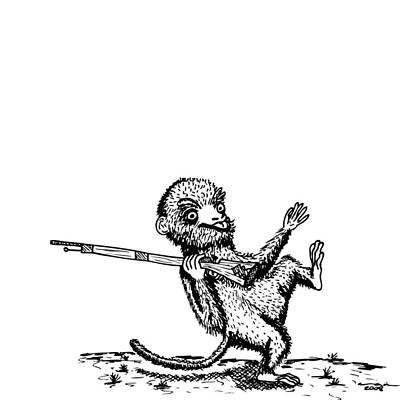 Ape Drawing - Rifle Monkey by Karl Addison