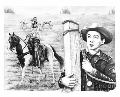 Western Horse Drawing - Rifleman-mark-mccain by Murphy Elliott