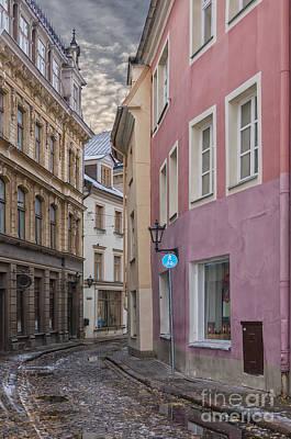 Color Block Photograph - Riga Narrow Road by Antony McAulay