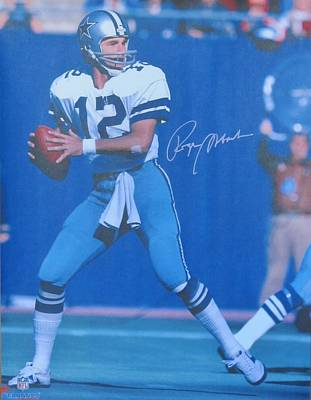 Roger Staubach #12 Dallas Cowboys Quarterback Art Print by Donna Wilson