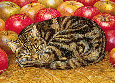 Right Hand Apple Cat Art Print by Ditz