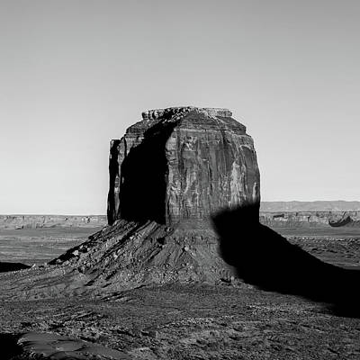 Photograph - Right Panel 3 Of 3 - Monument Valley Buttes Panoramic Landscape At Sunset - Monochrome by Gregory Ballos
