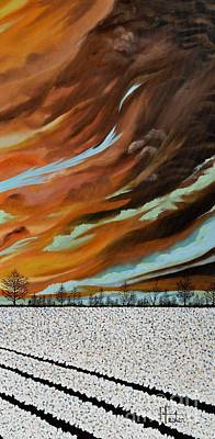 Painting - Right Panel Cotton Field Triptych by Terry  Hester