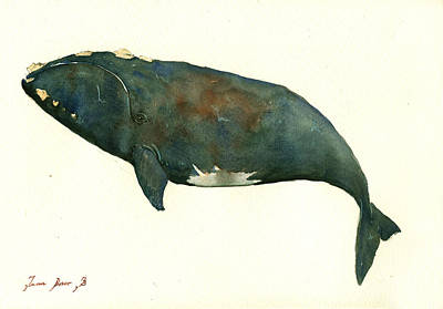 Right Whale Painting Original by Juan  Bosco