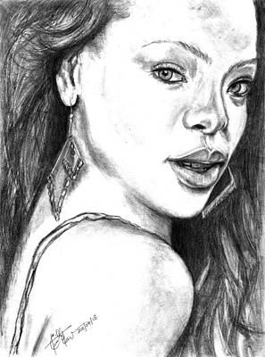 Rihanna Drawing - Rihanna - Pencil Art by Charith Ekanayake