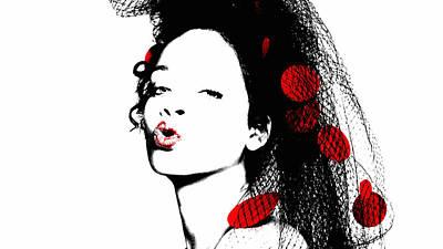 Rihanna Mixed Media - Rihanna 17 by Brian Reaves
