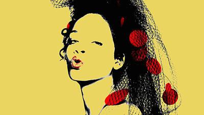 Rihanna Mixed Media - Rihanna 17c by Brian Reaves