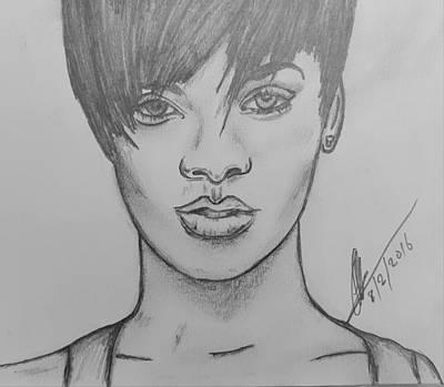 Rihanna Drawing - Rihanna 2 by Collin A Clarke