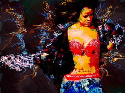 Rihanna Wall Art - Digital Art - Rihanna Abstract By Gbs by Anibal Diaz