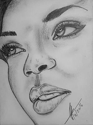 Rihanna Drawing - Rihanna by Collin A Clarke