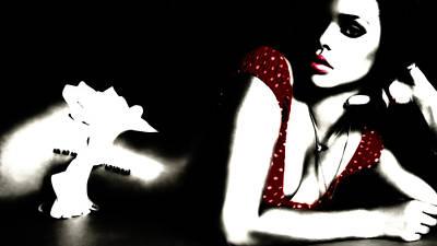 Rihanna Digital Art - Rihanna In Red by Brian Reaves