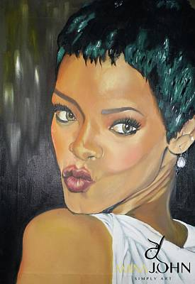 Rihanna Painting - Rihanna Kiss by Zalika Ledeatte- Williams