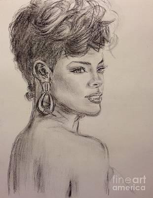 Rihanna Drawing - Rihanna - Not For Sale by Lavender Liu