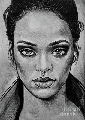 Rihanna Portrait Original by Ornella Di Scala